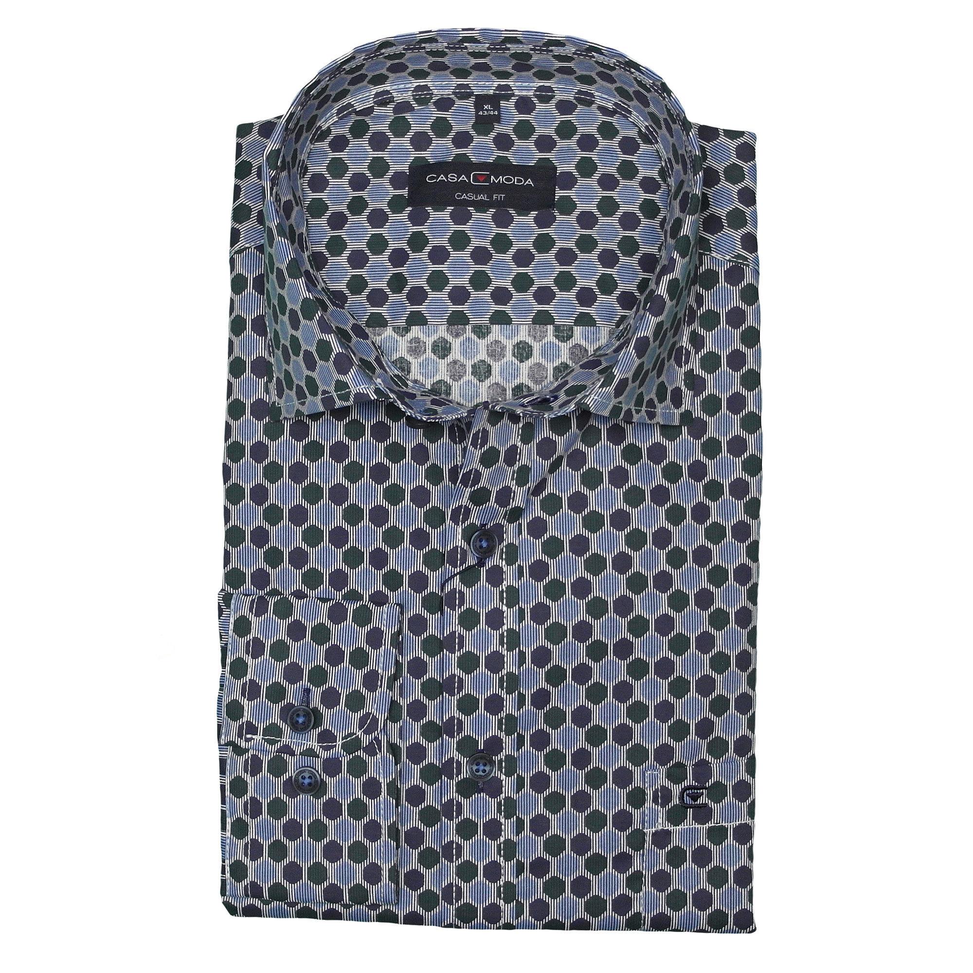 CasaModa Langarmhemd blaues Minimalmuster