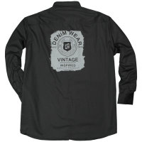 Langarm Hemd mit Rückenprint von Kamro, schwarz