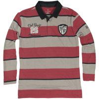 Rot gestreiftes Kitaro Langarm Poloshirt in...